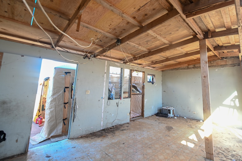 The interior view of a newly installed temporary roof of a home in the village of Koblerville, Saipan, Commonwealth of Northern Mariana Islands, Nov. 20, 2018.