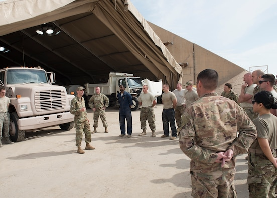 AFCENT Command Chief greets 407 AEG Airmen