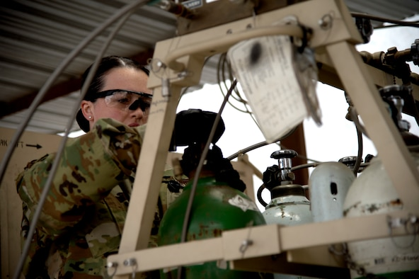 U.S. Air Force Senior Airman Molly Winters works in the medical logistics section at the Craig Joint Theater Hospital at Bagram Aifield, Afghanistan.