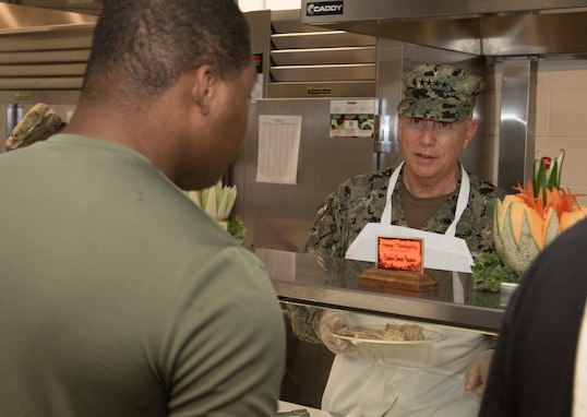Navy Adm. Kurt W. Tidd, Commander, U.S. Southern Command, visited Joint Task Force Guantanamo Troopers to celebrate the Thanksgiving holiday as one of his final acts as commander, Nov. 22. Tidd was joined by incoming SOUTHCOM Commander, Navy Adm. Craig S. Faller; Marine Sgt. Maj. Bryan K. Zickefoose, SOUTHCOM Command Senior Enlisted Leader; and JTF GTMO leaders, to visit Troopers on duty and serve Thanksgiving lunch at the Camp America Galley.