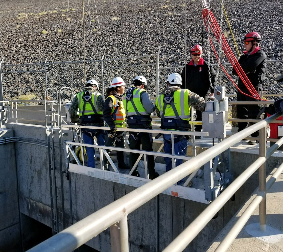 COCHITI DAM, N.M. – The inspection team prepares to conduct a Hydraulic Steel Structure Inspection of the three conduits, which measure approximately 1,354 feet in length, at the dam, Nov. 13, 2017. Photo by Tracy Wolf. This was a 2018 photo drive entry.