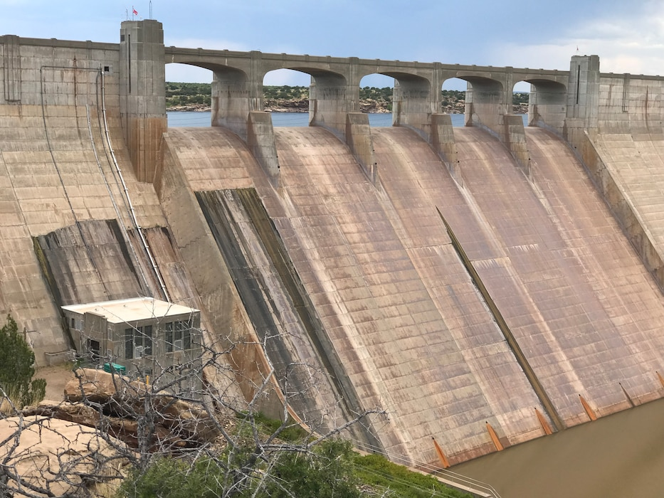 CONCHAS DAM, N.M. – The backside of the dam as seen from the overlook behind the dam, July 19, 2018.Photo by Nadine Carter. This was a 2018 photo drive entry.