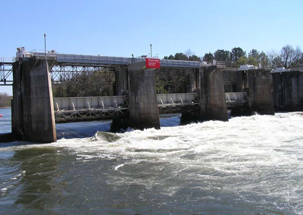 New Savannah Bluff Lock and Dam is shown during the pulse release. When flows in the Savannah exceed 16,000 cubic feet per second, the gates of the structure are raised, which scientists hypothesized would encourage fish passage through the structure.