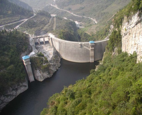 When completed, the Three Gorges Dam on the Yangtze River will be the largest hydroelectric dam in the world.