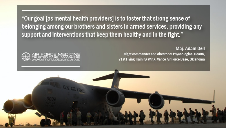 While service members are medically ready to deploy, both physically and mentally, the rigors of deployment can take a toll. Mental health providers in deployed settings play a vital role in providing the necessary support to ensure the health of the warfighter and the mission. (U.S. Air Force illustration by Josh Mahler)