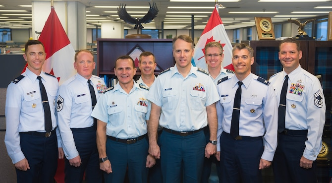 Members of the Revitalizing the Squadron team pose for a picture with Royal Canadian Air Force leadership in Ottawa, Ontario, Nov. 15, 2018. During a week-long workshop, Air Force members teamed with RCAF counterparts to discuss best practices and lessons learned for creating stronger squadrons in each service. (Courtesy photo by Royal Canadian Air Force Cpl Desiree T. Bourdon)