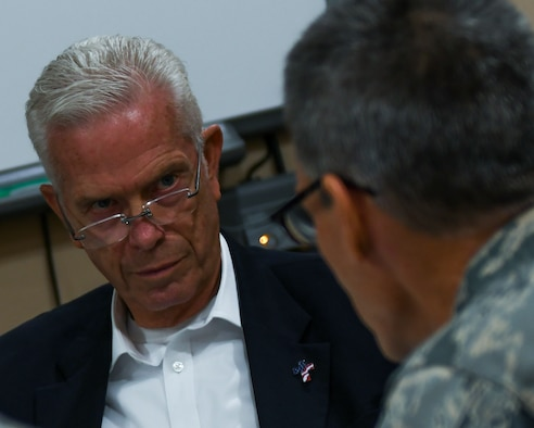 U.S. Congressman Bill Johnson, representing Ohio's 6th Congressional District, talks with 910th Airlift Wing leaders, including 910th Airlift Wing Commander Col. Dan Sarachene and 910th Airlift Wing Vice Commander Col. Joe Janik here, Nov. 19, 2018.