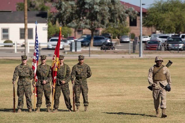 U.S. Marines with Headquarters and Headquarters Squadron, Marine Corps Air Station Yuma, participate in the 243rd Marine Corps birthday uniform pageant at the Parade Deck on Marine Corps Air Station Yuma, Ariz., Nov. 8, 2018. The annual ceremony was held in honor of the 243rd Marine Corps birthday, showcasing historical uniforms to honor Marines of the past, present and future while signifying the passing of traditions from one generation to the next. (U.S. Marine Corps photo by Sgt. Allison Lotz)