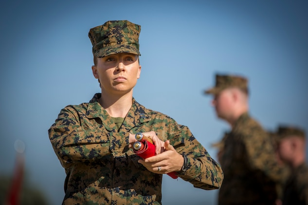 U.S. Marine Corps Capt. Robin Bosman, station adjutant, Marine Corps Air Station Yuma, participates in the 243rd Marine Corps birthday uniform pageant at the Parade Deck on Marine Corps Air Station Yuma, Ariz., Nov. 8, 2018. The annual ceremony was held in honor of the 243rd Marine Corps birthday, showcasing historical uniforms to honor Marines of the past, present and future while signifying the passing of traditions from one generation to the next. (U.S. Marine Corps photo by Sgt. Allison Lotz)