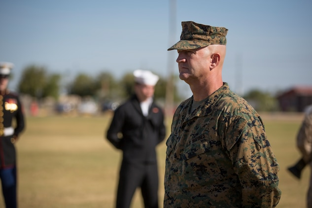 U.S. Marine Corps Sgt. Maj. David M. Leikwold, sergeant major, Marine Corps Air Station Yuma, participates in the 243rd Marine Corps birthday uniform pageant at the Parade Deck on Marine Corps Air Station Yuma, Ariz., Nov. 8, 2018. The annual ceremony was held in honor of the 243rd Marine Corps birthday, showcasing historical uniforms to honor Marines of the past, present and future while signifying the passing of traditions from one generation to the next. (U.S. Marine Corps photo by Sgt. Allison Lotz)