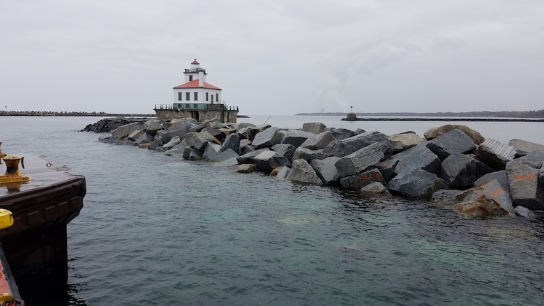 The U.S. Army Corps of Engineers, Buffalo District has completed construction repairs to the Oswego Harbor West Arrowhead Breakwater located at the Port of Oswego, Oswego, New York.