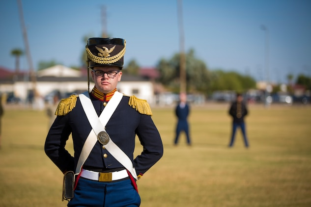 A U.S. Marine with Headquarters and Headquarters Squadron, Marine Corps Air Station Yuma, participates in the 243rd Marine Corps birthday uniform pageant at the Parade Deck on Marine Corps Air Station Yuma, Ariz., Nov. 8, 2018. The annual ceremony was held in honor of the 243rd Marine Corps birthday, showcasing historical uniforms to honor Marines of the past, present and future while signifying the passing of traditions from one generation to the next. (U.S. Marine Corps photo by Sgt. Allison Lotz)