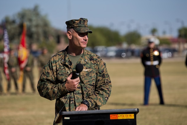 U.S. Marine Corps Col. David A. Suggs, commanding officer, Marine Corps Air Station Yuma, addresses the audience in the 243rd Marine Corps birthday uniform pageant at the Parade Deck on Marine Corps Air Station Yuma, Ariz., Nov. 8, 2018. The annual ceremony was held in honor of the 243rd Marine Corps birthday, showcasing historical uniforms to honor Marines of the past, present and future while signifying the passing of traditions from one generation to the next. (U.S. Marine Corps photo by Lance Cpl. Joel Soriano)