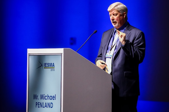 Principal Director of United States Air Force Operational Energy Policy, Michael Penland, describes how using data and technology to optimize aircraft operations leads to increased capability and readiness while speaking at the 2018 Innovative Energy Solutions for Military Application(IESMA) conference, hosted by the NATO Energy Security Centre of Excellence on 14 November 2018 in Vilnius, Lithuania.