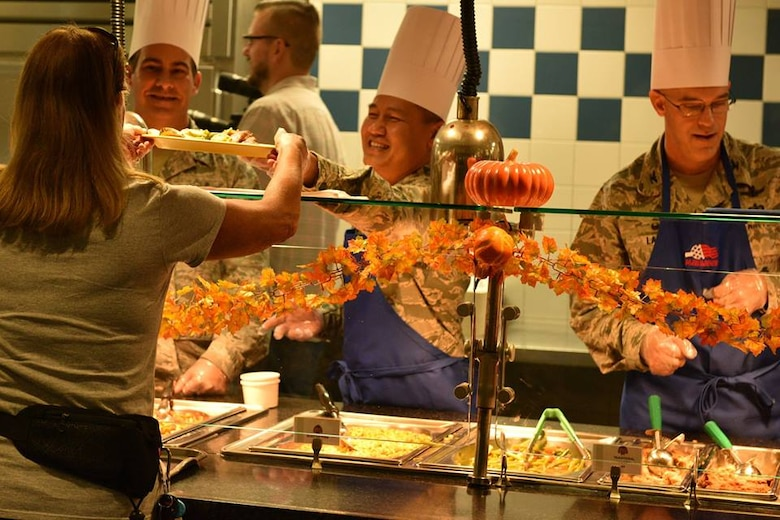 45th Space Wing leadership serve a Thanksgiving meal at Patrick Air Force Base Riverside Dining Facility on Nov. 22, 2018. Airmen live by their core values, and the 45th SW leadership demonstrated Air Force core values by serving our community meals during the Thanksgiving holiday.