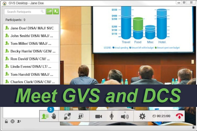 Graphic showing screenshot of virtual meeting, with people in a room and a list of names