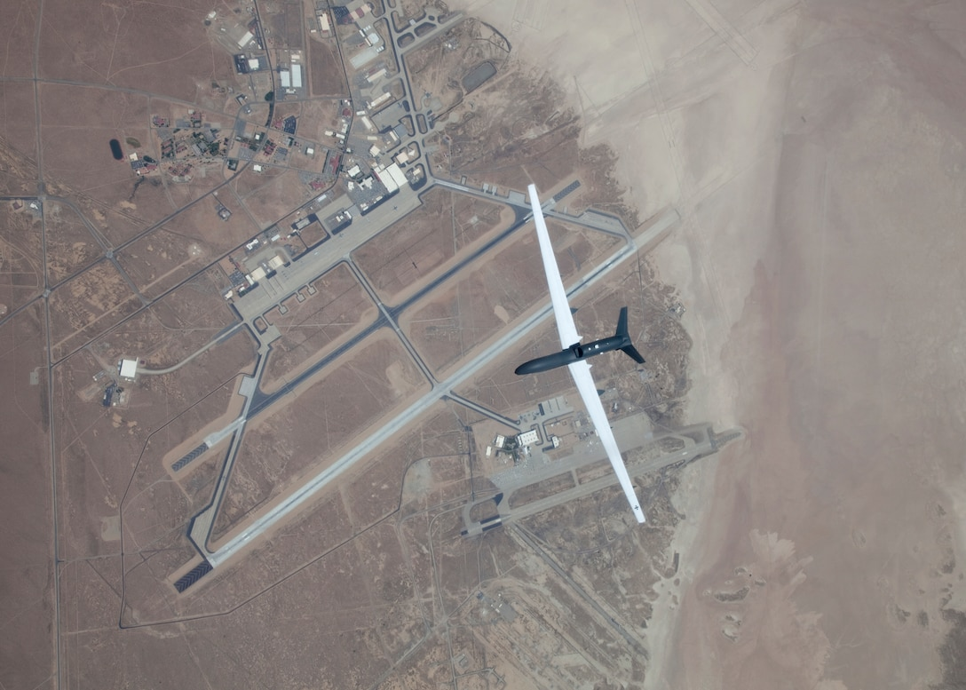 A European version of the Global Hawk flies over Edwards Air Force Base. (U.S. Air Force photo by Bobbi Zapka)