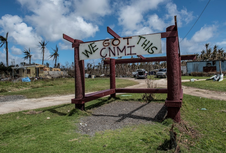 The Camacho family painted this sign in Saipan, Commonwealth of the Northern Mariana Islands Oct. 28, 2018, just three days after Super Typhoon Yutu.