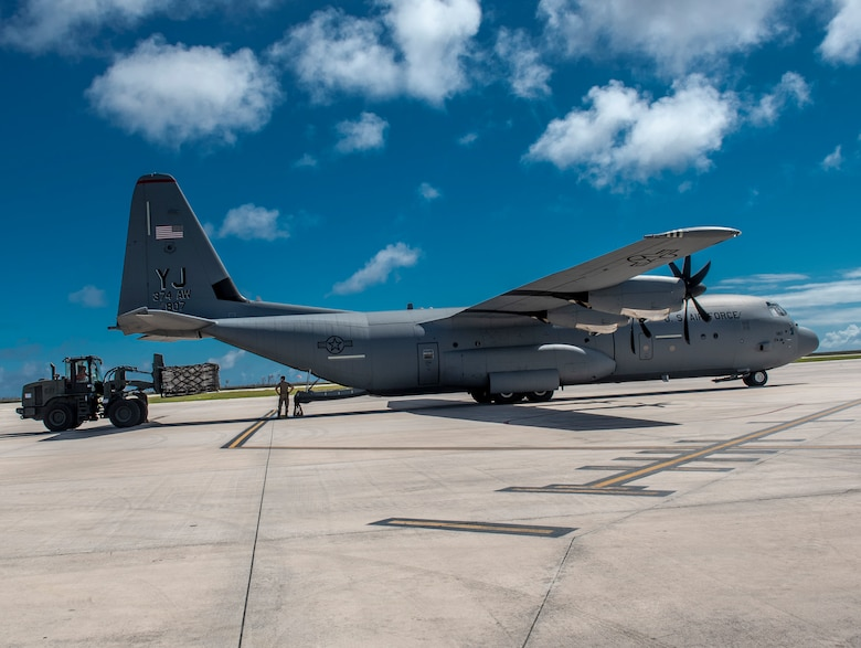 36th Contingency Response Group members from Andersen Air Force Base, Guam offload relief supplies from a U.S. Air Force C-130J Super Hercules from the 374th Airlift Wing at Yokota Air Base, Japan in Saipan, Commonwealth of the Northern Mariana Islands (CNMI) Nov. 1, 2018.