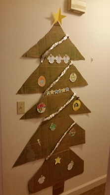 A photo of the cardboard Christmas tree created by the son of Senior Master Sgt. Eric V. Reynolds, superintendent at the Air Force Technical Applications Center, Patrick AFB, Fla.  (Courtesy photo)