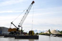 U.S. Army Corps of Engineers, Buffalo District contractor dredges the Buffalo River, September 15, 2011.   Buffalo Harbor received $12.445 million in fiscal year 2019 Work Plan funding for dredging, repair of the North & South Breakwaters, CDF Repair, and CDF Five-Year External Assessment.