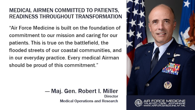 Maj. Gen. Robert I. Miller, Director, Medical Operations and Research, discusses the Air Force Medical Service transformation and how medical Airmen are maintaining an unwavering commitment to readiness and Trusted Care. (U.S. Air Force illustration)