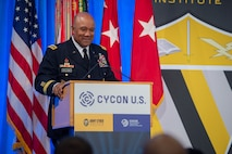 U.S. Lt. Gen. Darryl A. Williams, 60th Superintendent of the U.S. Military Academy, speaks at the International Conference on Cyber Conflict U.S., Nov. 14, 2018, at the Ronald Reagan Building and International Trade Center in Washington, District of Columbia. Williams opened the annual conference with stating that today, you can't talk about either readiness or modernization without addressing cyber and space. This year's theme was Cyber Conflict during Competition. During competition, U.S. and Allied forces actively campaign to advance and defend national interests in an environment that is short of armed conflict.