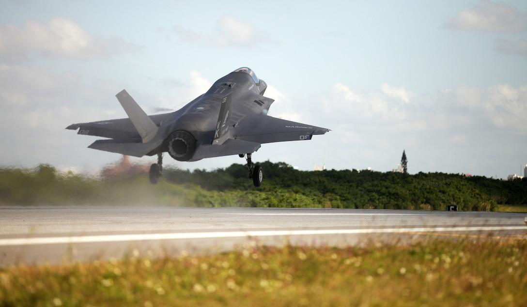 An F-35B Lightning II jet takes off at Marine Corps Air Station Futenma, Okinawa, Japan, Nov. 27, 2018.