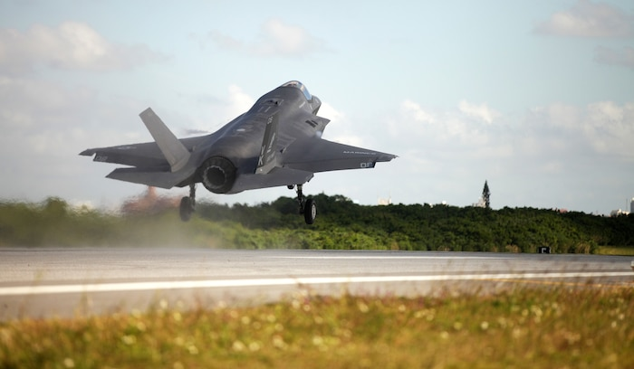 An F-35B Lightning II jet takes off at Marine Corps Air Station Futenma, Okinawa, Japan, Nov. 27, 2018.