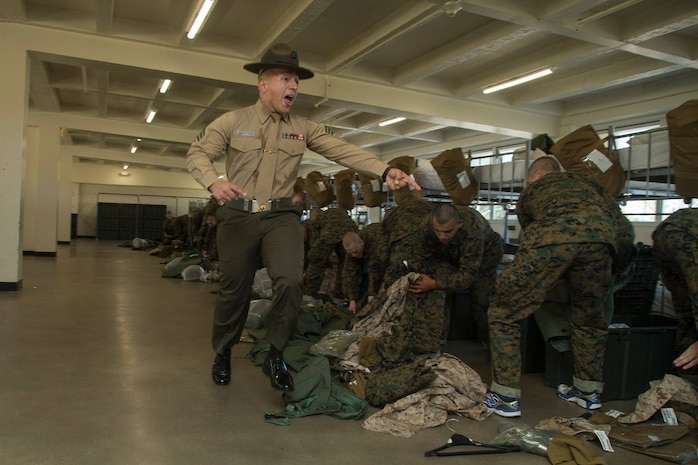 Recruits from Golf Company, 2nd Recruit Training Battalion, undergo an initial gear inspection during pick up at Marine Corps Recruit Depot San Diego, Nov. 16.