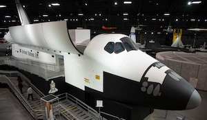 DAYTON, Ohio (11/2018) -- View of the Space Shuttle Exhibit at the National Museum of the United States Air Force. The fourth building includes more than 70 aircraft in four galleries -- Presidential, Research & Development, Space and Global Reach. (U.S. Air Force photo by Ken LaRock)