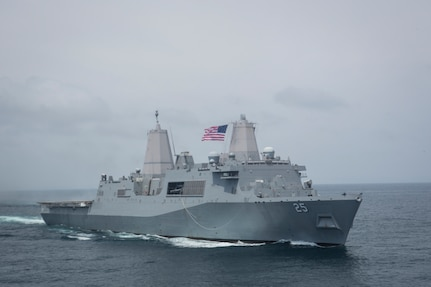 The U.S. Navy San Antonio-class amphibious transport dock ship USS Somerset (LPD 25) transports U.S. Marines and sailors with Special Purpose Marine Air-Ground Task Force - Peru during a humanitarian assistance and disaster relief exercise off of the coast of Chorrillos Beach near Lima, Peru.