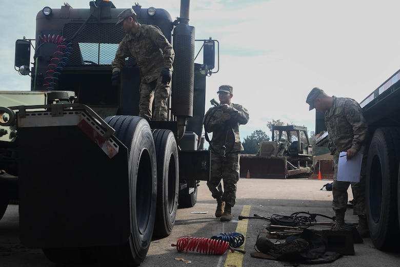 U.S. Army Soldiers assigned to the 149th Seaport Operations Company, 10th Transportation Battalion, 7th Trans. Brigade (Expeditionary), conduct equipment checks at Joint Base Langley-Eustis, Virginia, Nov. 19, 2018. The 149th SOC is one of two units in the Army to maintain water vessels along with wheeled vehicles. (U.S. Air Force photo by Senior Airman Derek Seifert)