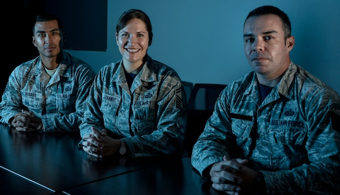 "Reserve Airmen from the 16th Intelligence Squadron pose for portrait November 9, 2018 at Fort George G. Meade, Maryland. The 16th Intelligence Squadron, nicknamed the ""Honey Badgers,"" became the fastest squadron in the 655th Intelligence, Surveillance, and Reconnaissance Group to reach Full Operating Capability in just under 10 months after achieving Initial Operating Capability on Oct. 1, 2014. (U.S. Air Force photo by Staff Sgt. Alexandre Montes)"