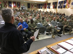 The DoD Defense CBRN Response Force (DCRF) Mission Year 2019 Mobile Training Team was conducted Nov. 27 through 29, 2018, at Fort Hood, Texas. Randy Hall, JTF-CS, explains training objectives to 150 participants. The training focused on achieving unity of effort under the National Response Framework when conducting Defense Support of Civil Authorities response operations. (DoD photo by Air Force Lt. Col. Karen Roganov, director of JTF-CS Public Affairs/ released)