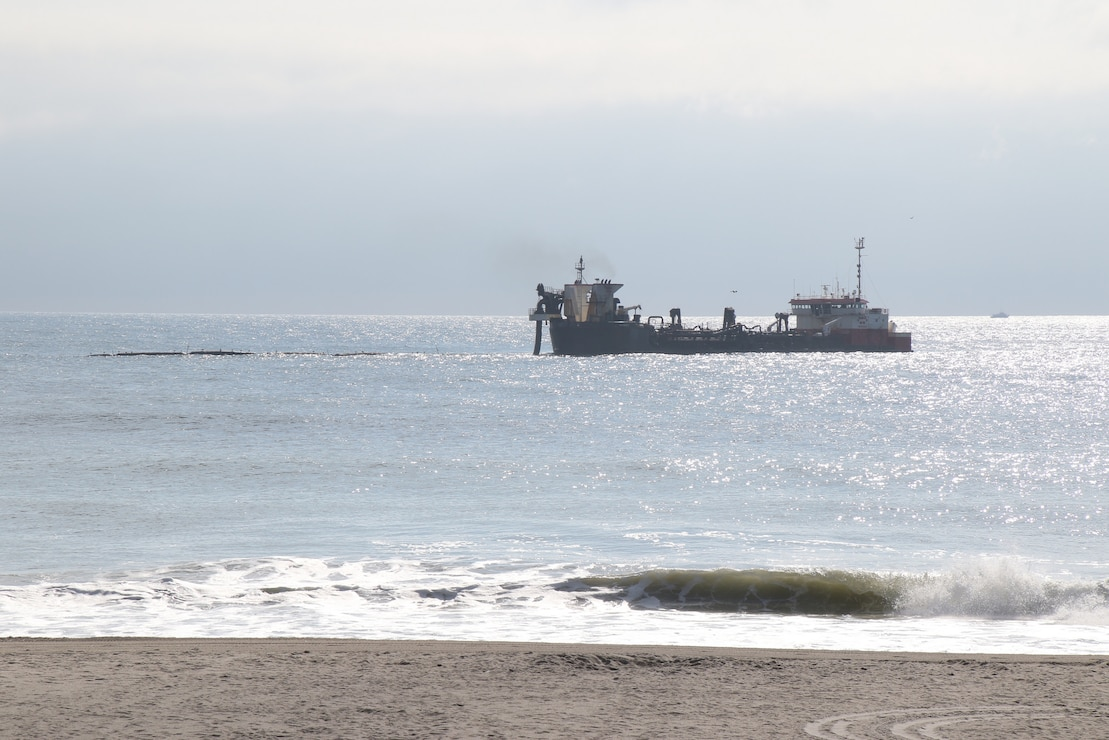The Dredge RN Weeks, owned and operated by Weeks Marine, conducts dredging and beachfill operations as part of the Manasquan Inlet to Barnegat Inlet Coastal Storm Risk Management project. The U.S. Army Corps of Engineers Philadelphia District manages the project in partnership with New Jersey Department of Environmental Protection.