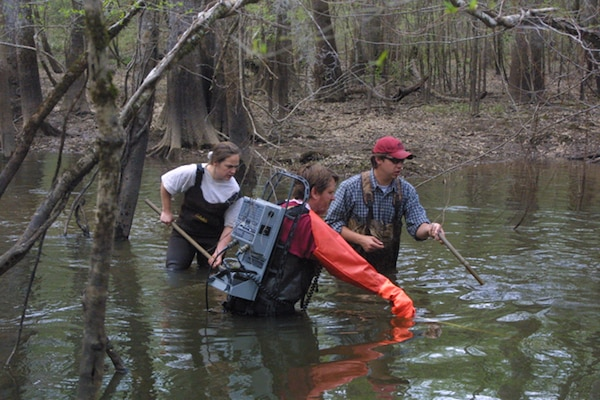 Figure 3. Dr. Darold Batzer and His Students Sampling the Savannah River Floodplain During an Experimental Controlled Flood.