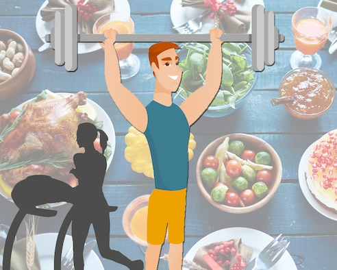 According to a recent study by Cornell University, Americans, on average, will gain 1.3 pounds this holiday season as a result of over eating and lack of exercise. The answer to enjoying holiday treats without sacrificing fitness is making a plan and sticking to it, says Geoffrey Borro, 436th Aerospace Medicine Squadron health promotion dietician.    (U.S. Air Force illustration by Mauricio Campino and Airman 1st Class Dedan Dials)