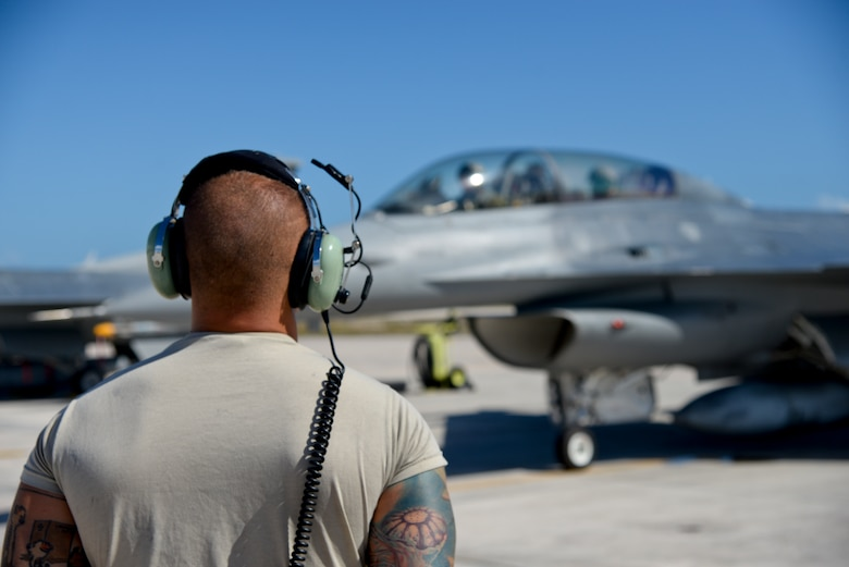 A picture of U.S. Air Force Tech. Sgt. Anthony Falcone, crew chief with the 177th Fighter Wing, looking at an F-16D Fighting Falcon.