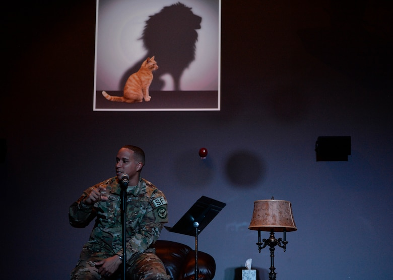 U.S. Air Force Tech Sgt. Reuben McClendon 86th Security Forces Squadron assistant noncommissioned officer in charge of training, shares his resilience story at a Storytellers event on Ramstein Air Base, Germany, Nov. 16, 2018. McClendon discussed how he recovered professionally and personally after being demoted. (U.S. Air Force photo by Staff Sgt. Nesha Humes Stanton)