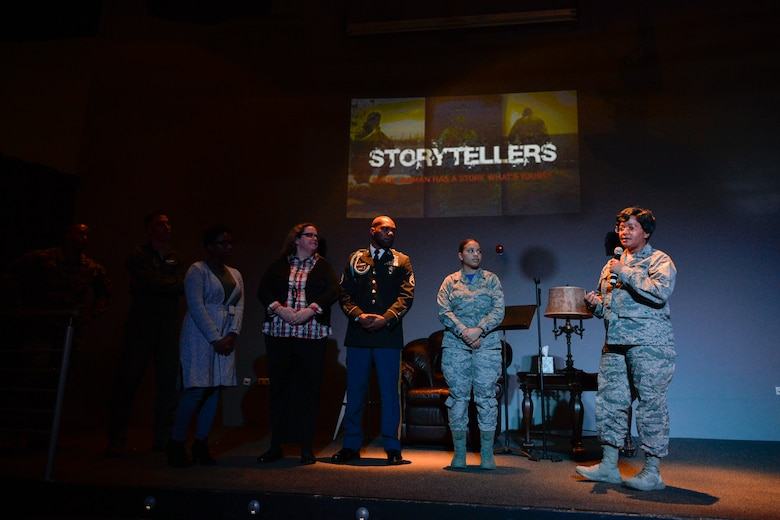 U.S. Air Force Col. Donnette Boyd, right, wing chaplain for the 86th Airlift Wing thanks six Kaiserslautern Military Community members for sharing their resilience stories during a Storytellers event on Ramstein Air Base, Germany, Nov. 16, 2018. Storytellers started at Incirlik Air Base, Turkey, in 2012 to support, aid, and promote understanding for Airmen enduring distressing events. (U.S. Air Force photo by Staff Sgt. Nesha Humes Stanton)