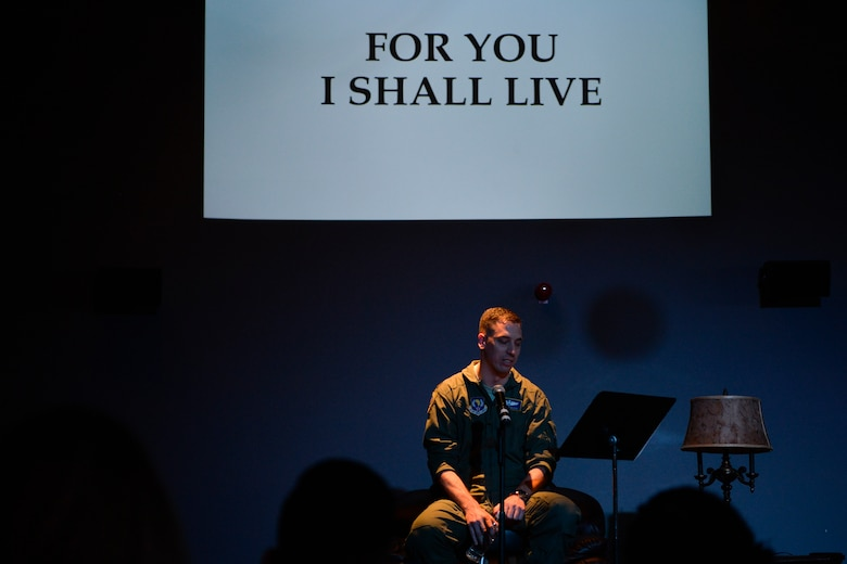 U.S. Air Force Maj. Matthew Kless, U.S. Air Forces in Europe-Air Forces Africa desk officer, shares his resilience story at a Storytellers event on Ramstein Air Base, Germany, Nov. 16, 2018. Kless discussed how the catastrophic loss of his brother sent him in a downward spiral of depression and how the support of his family and therapy has enabled his road to recovery. (U.S. Air Force photo by Staff Sgt. Nesha Humes Stanton)