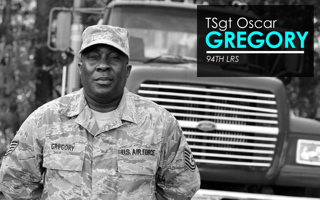 This week's Up Close features Tech. Sgt. Oscar Gregory, Jr., 94th Logistics Readiness Squadron vehicle ops. Up Close is a series spotlighting individuals around Dobbins Air Reserve Base. (U.S. Air Force graphic/Staff Sgt. Andrew Park)