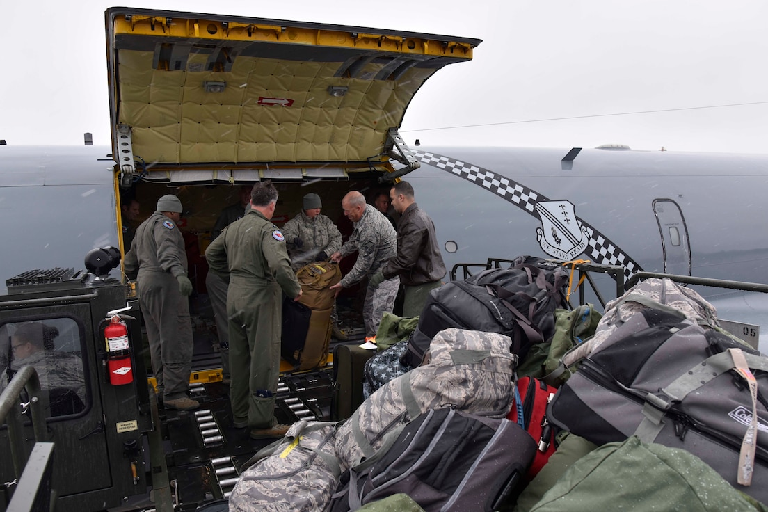 Citizen-Airmen of the Michigan Air National Guard disembark from a KC-135 Stratotanker at Selfridge Air National Guard Base, Mich., Nov. 9, 2018