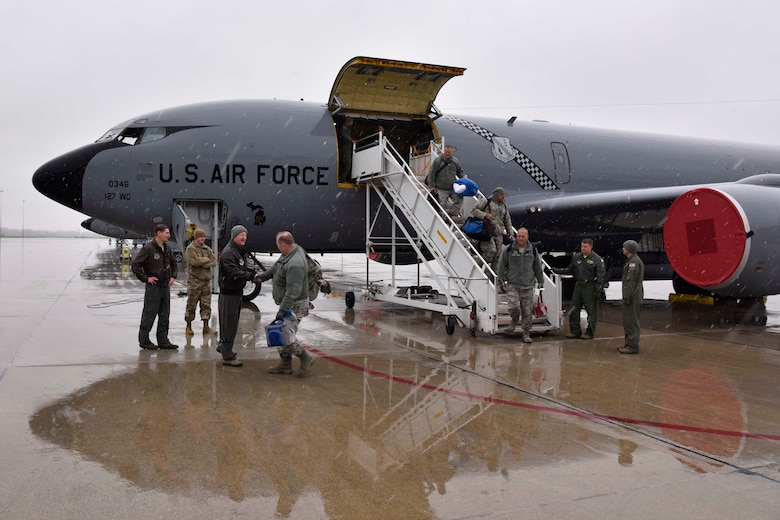 Citizen-Airmen of the Michigan Air National Guard disembark from a KC-135 Stratotanker at Selfridge Air National Guard Base, Mich., Nov. 9, 2018.