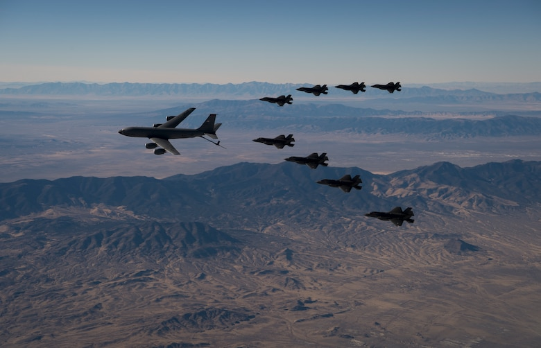 A formation of F-35A Lightning IIs, from the 388th and 419th Fighter Wings refuel over the Utah Test and Training Range as part of a combat power exercise on Nov. 19, 2018.