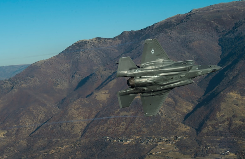 An F-35 Lightning II stationed at Hill Air Force Base performs aerial maneuvers during a combat power exercise over Hill Air Force Base, Nov. 19, 2018.