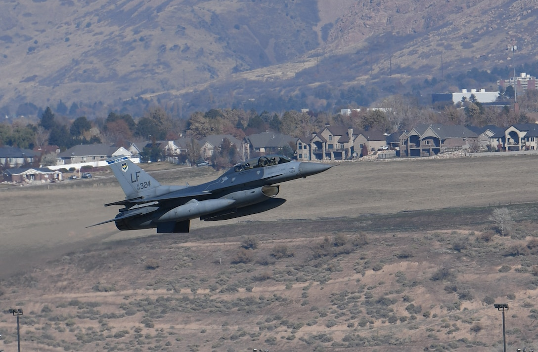 An F-16D Fighting Falcon from the 309th Fighter Squadron, takes off from Hill Air Force Base, Utah, as part of an F-35 Lightning II combat power exercise, Nov. 19, 2018.