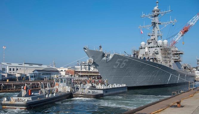 USS John S. McCain leaves dry dock, continues repairs in Yokosuka