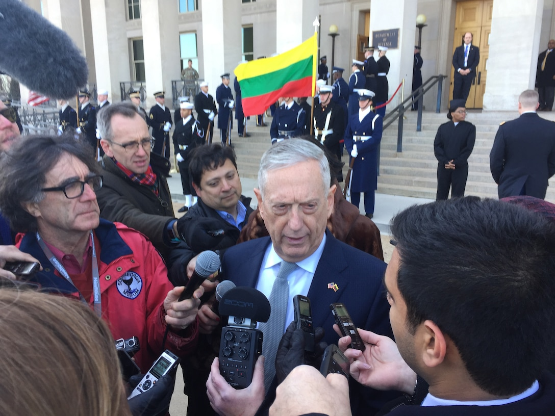 Defense Secretary James N. Mattis discusses Russia's seizure of three Ukrainian ships at the mouth of the Sea of Azov while speaking with reporters at the Pentagon.